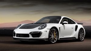 Preview wallpaper porsche, 911, turbo, stinger, gtr, white, black, side view