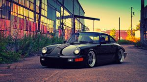 Preview wallpaper porsche, black, building