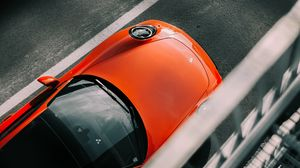 Preview wallpaper porsche, car, red, top view, asphalt