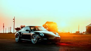 Preview wallpaper porsche, cars, city, sunset