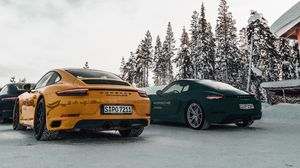 Preview wallpaper porsche, cars, sports car, snow, racing
