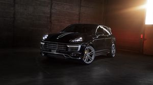 Preview wallpaper porsche, cayenne, 958, black, front view