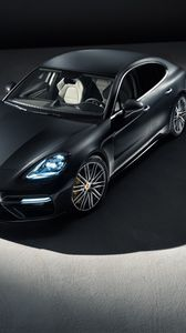 Preview wallpaper porsche, panamera, front view, shadow