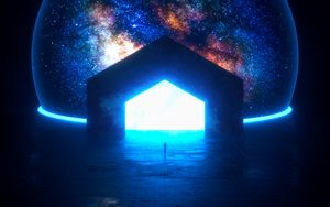 Preview wallpaper portal, glow, bright, silhouette, dark