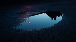 Preview wallpaper puddle, reflection, dark, lantern