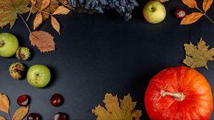 Preview wallpaper pumpkin, apple, autumn, leaves