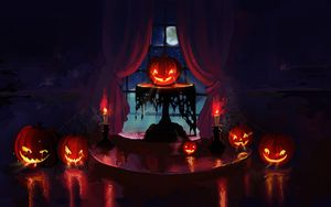 Preview wallpaper pumpkin, halloween, art, candles, night