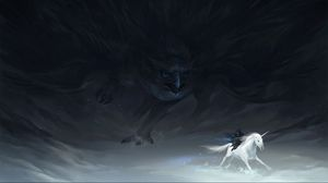 Preview wallpaper pursuit, unicorn, hunting, hawk, beings