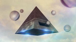 Preview wallpaper pyramid, balls, 3d, figures, levitation