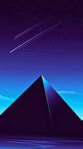 Preview wallpaper pyramids, starry sky, night, dark