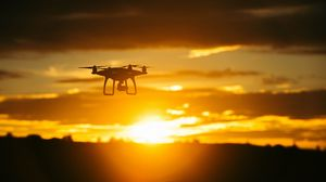 Preview wallpaper quadrocopter, sunset, sky, flight, drone