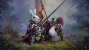 Preview wallpaper rabbit, guinea pig, knights, art