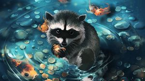 Preview wallpaper raccoon, art, coins, water