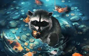 Preview wallpaper raccoon, art, coins, water