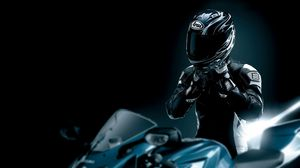 Preview wallpaper racer, black, motorcycle, helmet