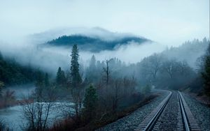 Preview wallpaper railroad, fog, trees, lake, mountain