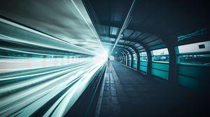 Preview wallpaper railroad, underground, man, line, light