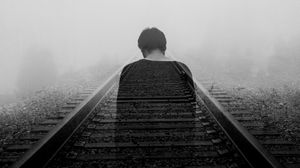 Preview wallpaper railway, loneliness, bw, back, fog