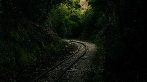 Preview wallpaper railway, rails, alley, forest