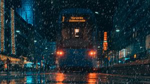 Preview wallpaper rain, transport, city, evening, night