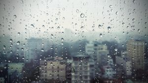 Preview wallpaper rain, window, glass, buildings, drops