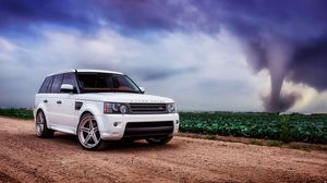 Preview wallpaper range rover, car, white, field, grass, sky, clouds