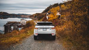 Preview wallpaper range rover, land rover, suv, autumn, rear view