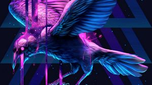 Preview wallpaper raven, bird, art, triangle, paint, fantastic