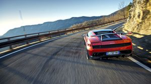 Preview wallpaper red, traffic, sports car, lamborghini