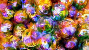 Preview wallpaper rendering, balls, blurred, petals, reflection