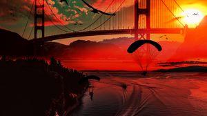 Preview wallpaper river, bridge, sunset, parachutists, birds, boats