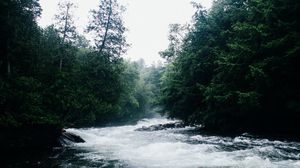 Preview wallpaper river, current, trees