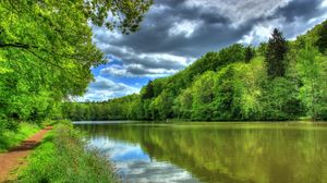 Preview wallpaper river, germany, tropic landscape, hessen lich, hdr, nature