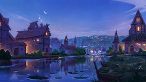 Preview wallpaper river, home, art, evening, fabulous