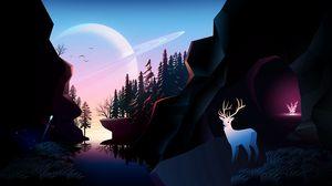 Preview wallpaper river, rocks, planet, forest, landscape, art