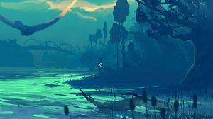 Preview wallpaper river, shore, silhouette, dark, art