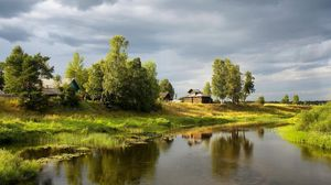 Preview wallpaper river, village, sky, cloudy, summer, green, water-lilies, trees, stream, coast, small