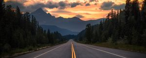 Preview wallpaper road, asphalt, marking, mountains, trees, turn, jasper, canada