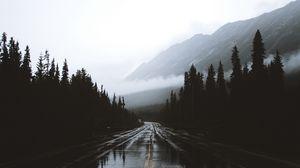 Preview wallpaper road, fog, marking, mountains, wet, alberta, canada