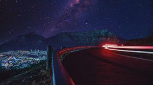 Preview wallpaper road, long exposure, glow, starry sky, stars