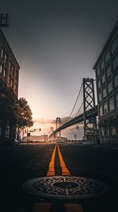 Preview wallpaper road, marking, bridge, building, san francisco, united states