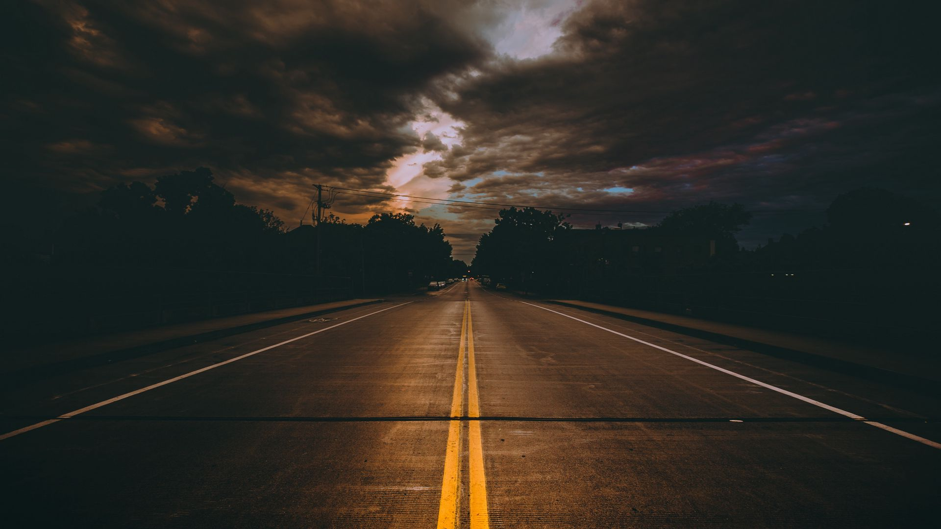 1920x1080 Wallpaper road, marking, cloudy, clouds, minneapolis, united states
