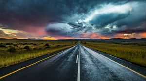 Preview wallpaper road, marking, evening, clouds, horizon