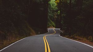 Preview wallpaper road, marking, trees, forest, turn