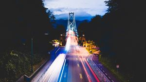 Preview wallpaper road, night city, traffic, bridge, vancouver, canada