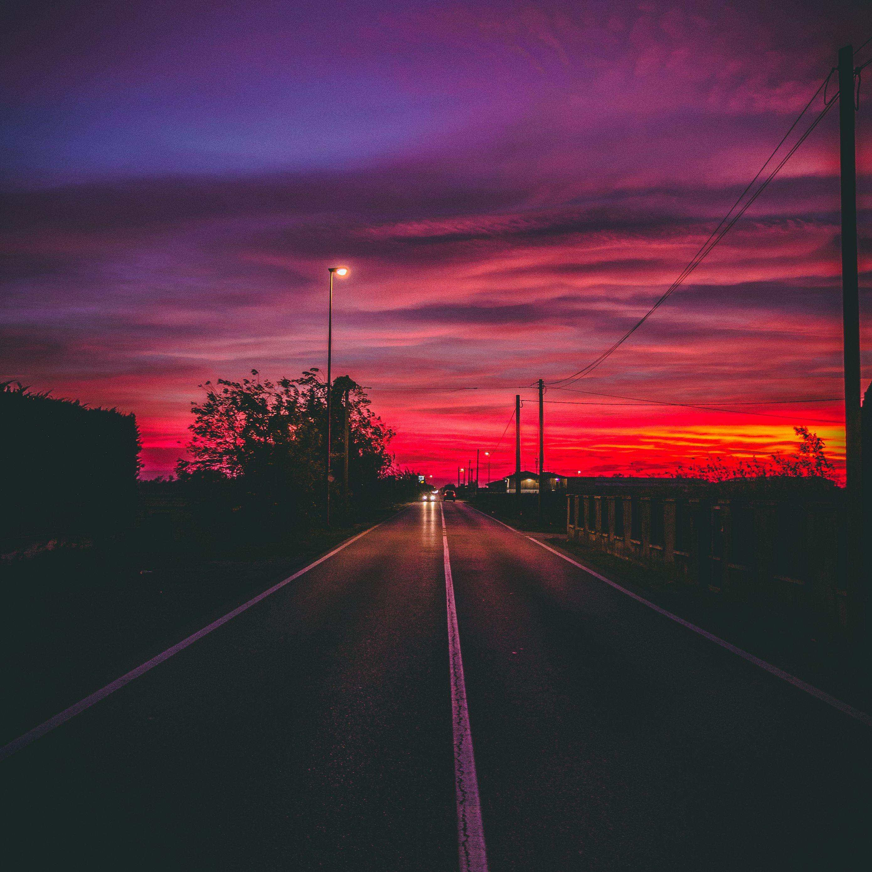 2780x2780 Wallpaper road, sunset, horizon, marking