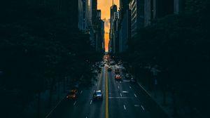Preview wallpaper road, traffic, skyscrapers, manhattan, new york