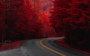Preview wallpaper road, turn, trees, red, mountain, landscape