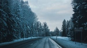 Preview wallpaper road, winter, trees, turn
