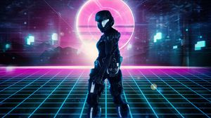 Preview wallpaper robot, armor, sci-fi, cyberpunk